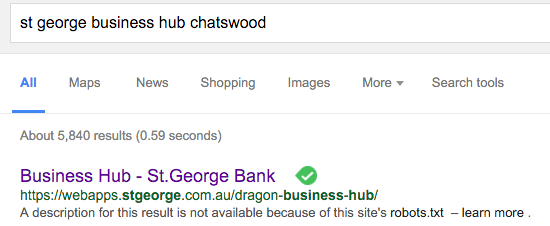 Business Hub blocked in Google