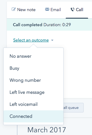 hubspot call outcomes