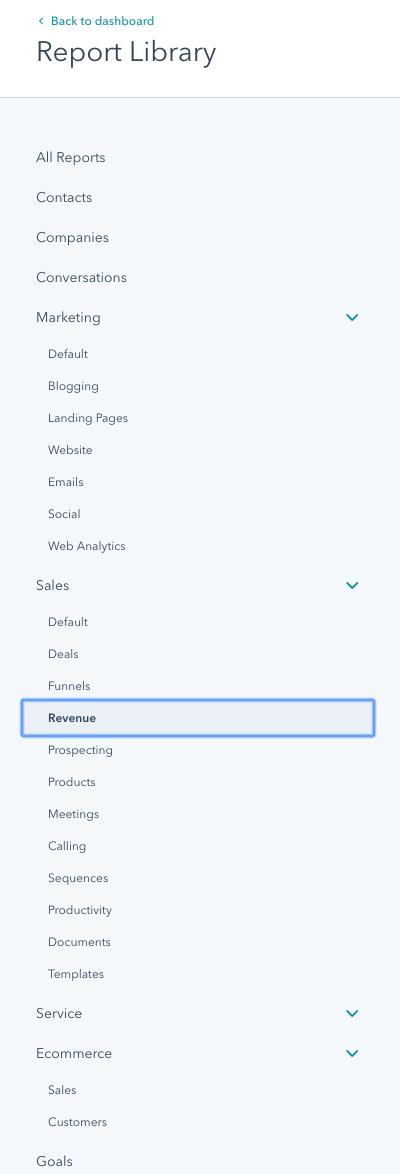 hubspot dashboard report options