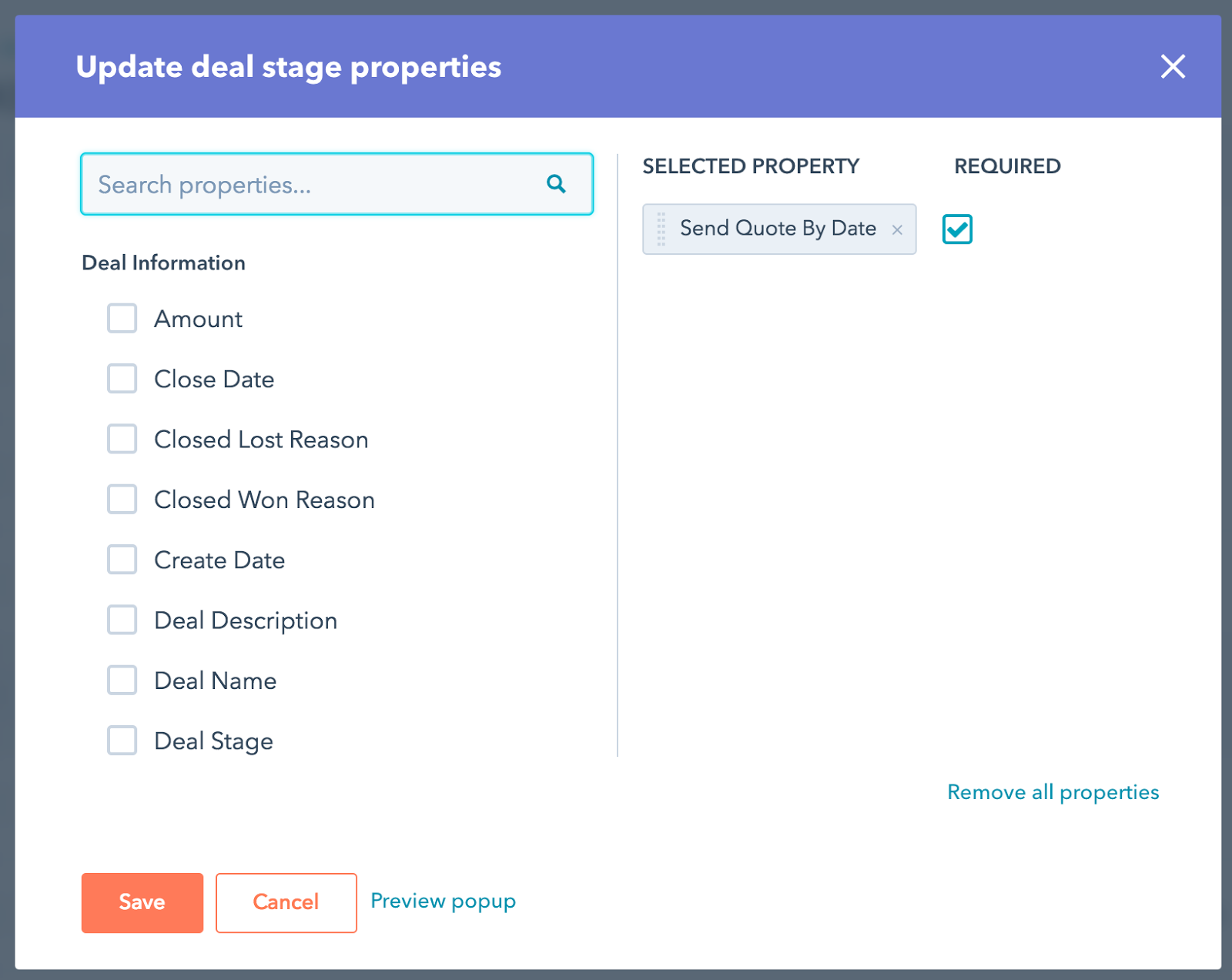 hubspot deal stage prompt setup