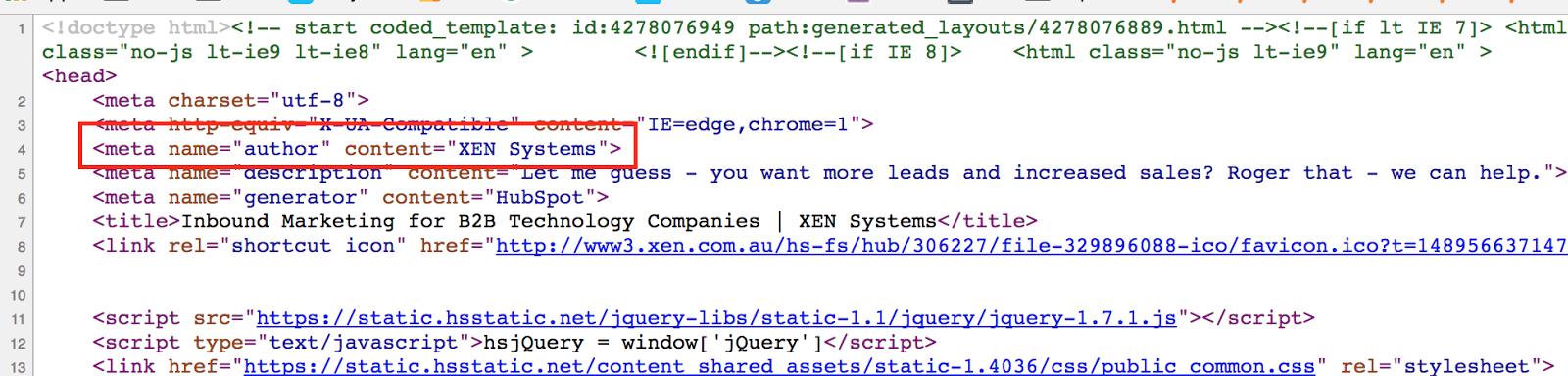 hubspot meta author tag