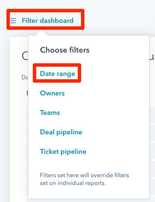hubspot reports filter