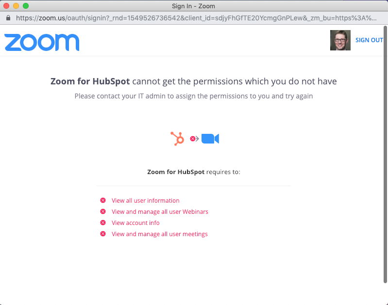 hubspot zoom connection error